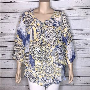 One World NWT 3X Blue & Yellow Patchwork Blouse